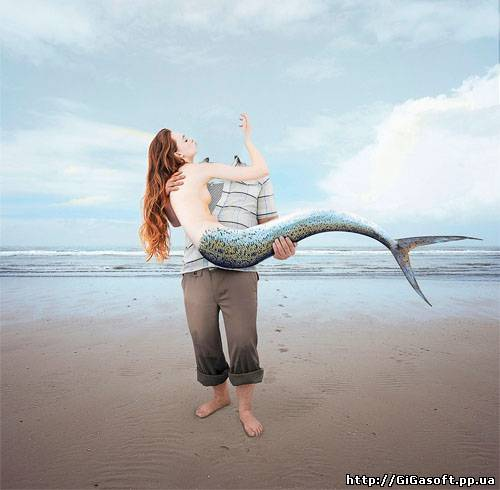 Шаблон для фото - поймал русалку Мужской шаблон поможет создать вам